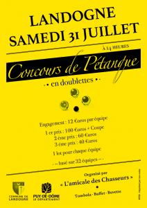 Concours de pétanque (en doublettes) @ Le bourg